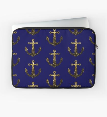 Yellow Gold sparkles Anchor on Dark navy blue Laptop Sleeve