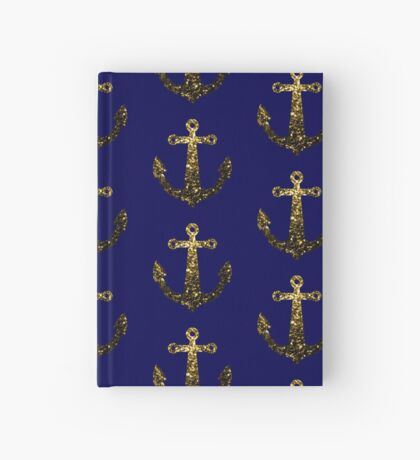 Yellow Gold sparkles Anchor on Dark navy blue Hardcover Journal