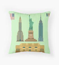 Cojín de suelo Conjunto de edificios famosos de Nueva York: Estatua de la Libertad, Museo Metropolitano de Arte, Empire State Building, Edificio Chrysler