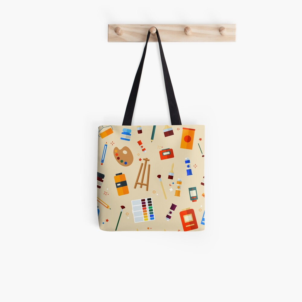 Werkzeuge und Materialien für Kreativität und Malerei Seamless Pattern Stofftasche