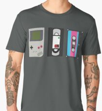 Gameboy, Cassette, and VHS Classic (black) Men's Premium T-Shirt