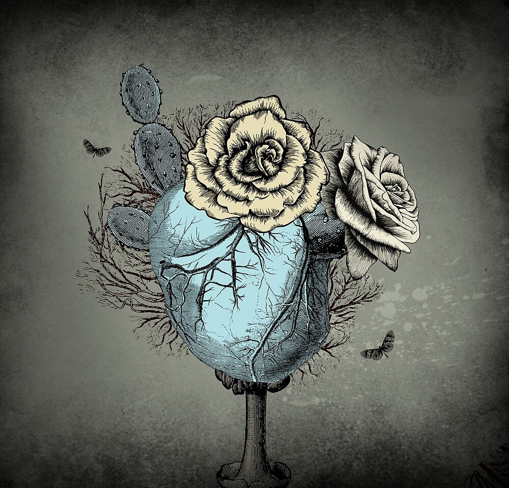 Gothic Cactus Roses Vintage Style Illustration by ShaireProd