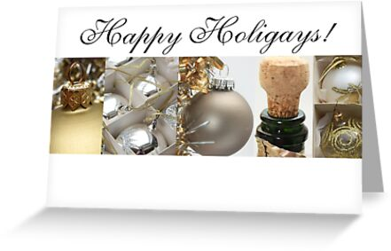 Happy Holigays: White, Black Gold Christmas Collage by Sabbia-Natale