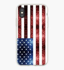 USA flag red blue sparkles glitters iPhone Case