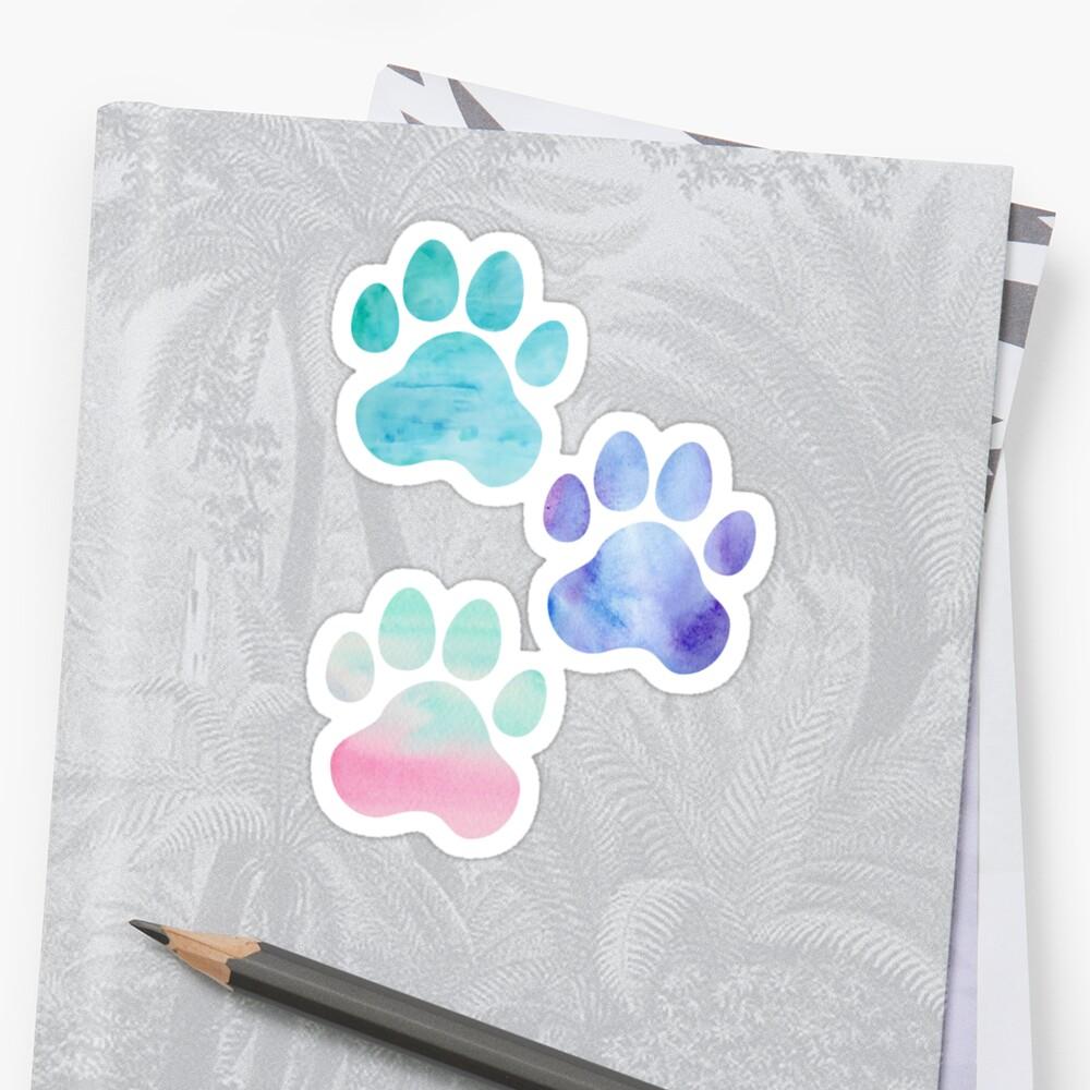 Watercolor Paw Print Trio by annmariestowe