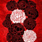 Asian Peony Flowers, Red and Black Design Style by ShaireProd