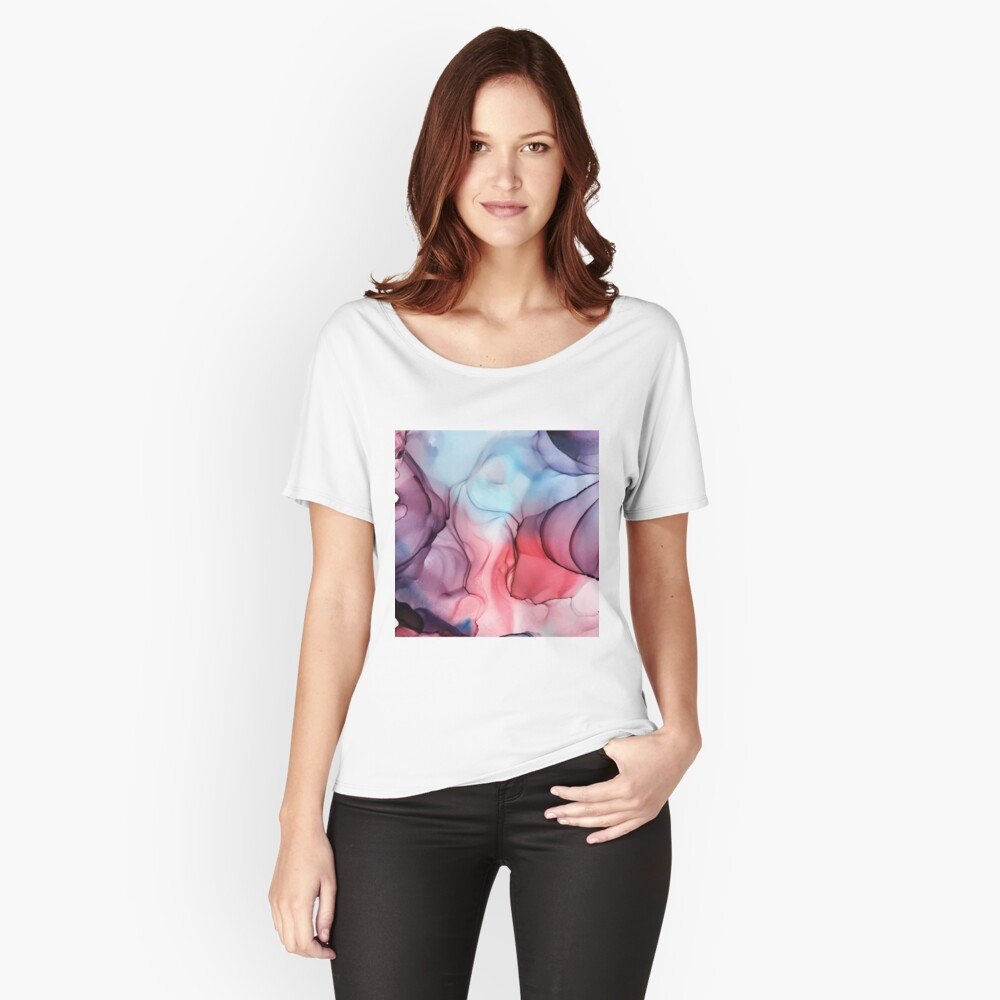 Flame Fired Alcohol Ink Painting Relaxed Fit T-Shirt