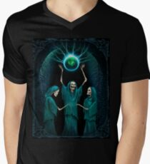 Conjuring of the Skeleton Witches, Horror Gothic Art Men's V-Neck T-Shirt