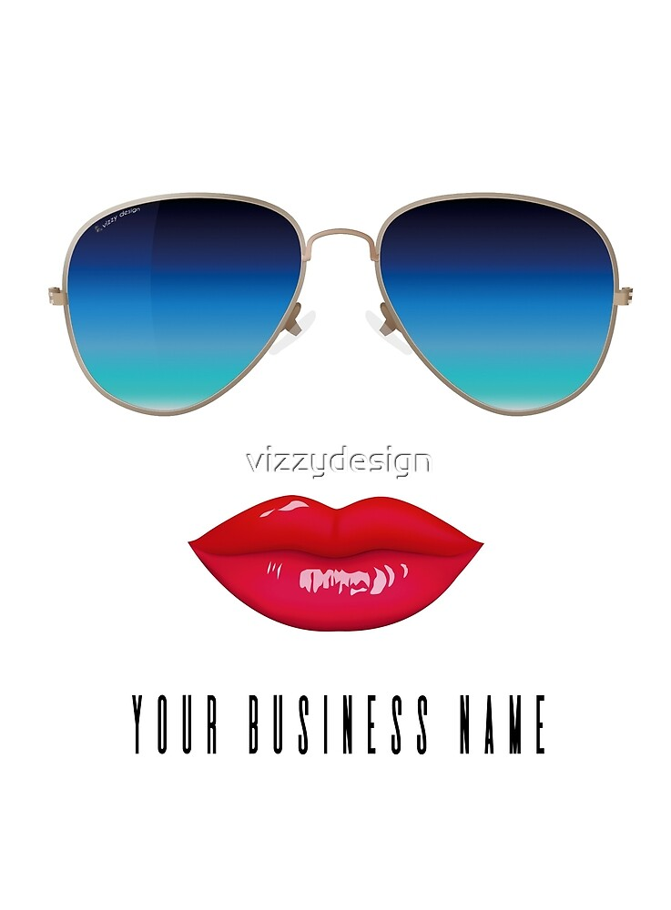 Email me first your business name & I will add to tshirt Blue avaiator sunglasses by vizzydesign