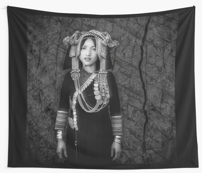 'Akha Hill Tribe Innocence' Wall Tapestry by Glen Allison