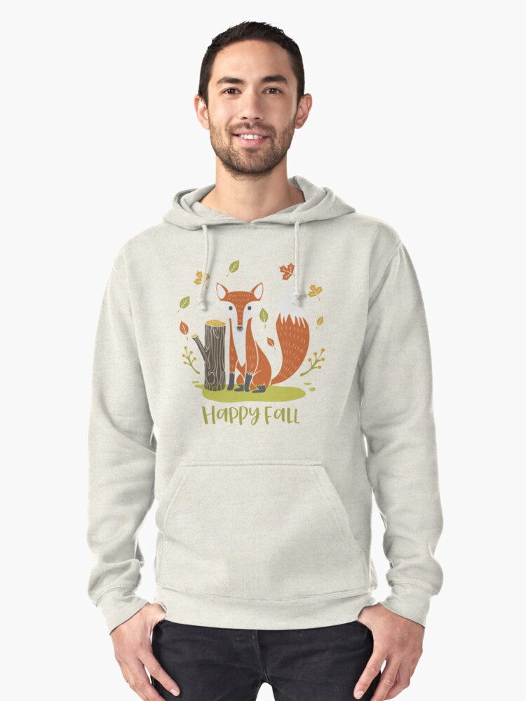 Happy Fall Fox Pullover Hoodie Front
