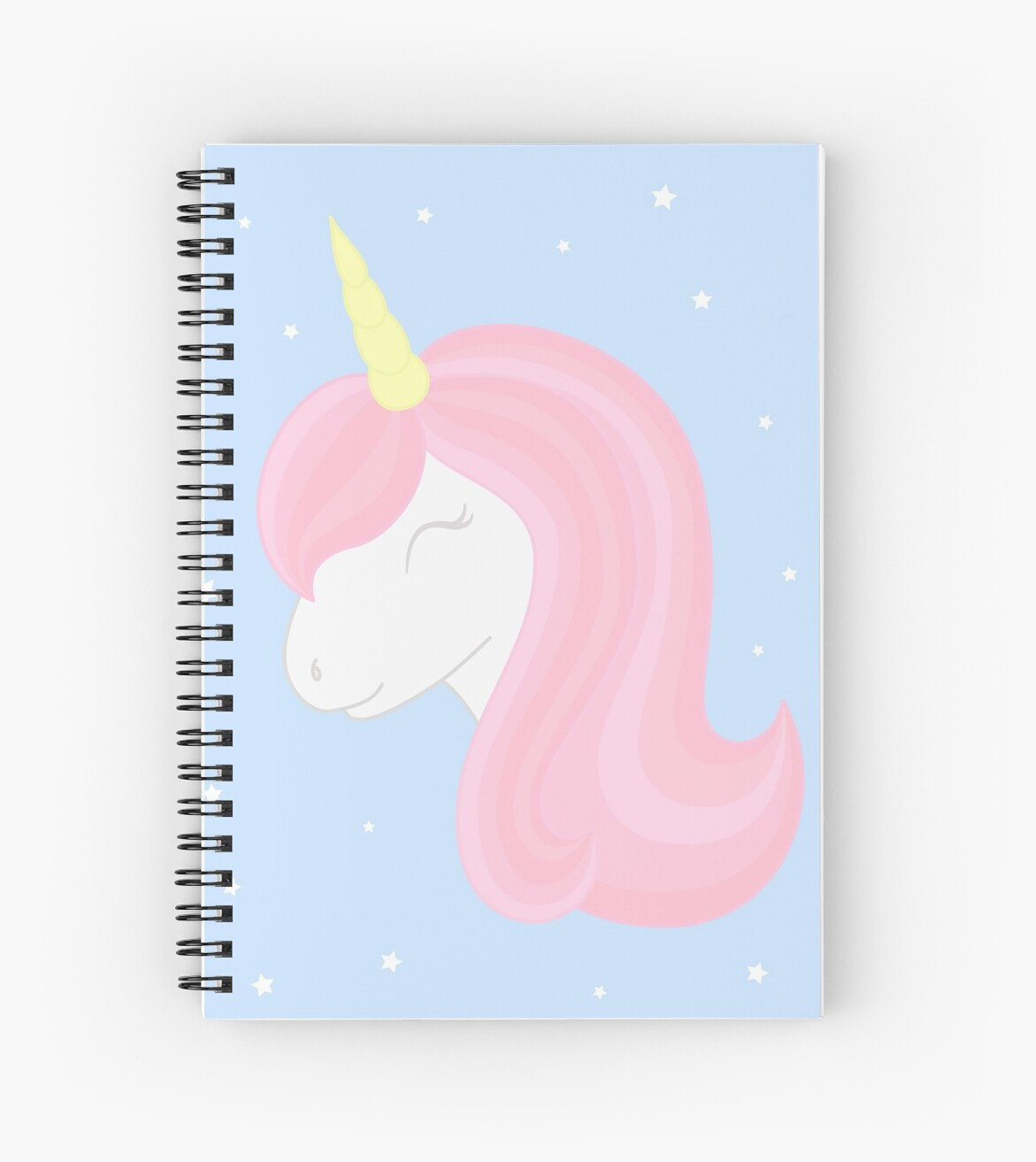 Cute sleeping unicorn on starry background. Unicorn head with beautiful pink mane and horn. by Chereliss