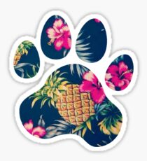 Navy Pineapple Paw Print Sticker