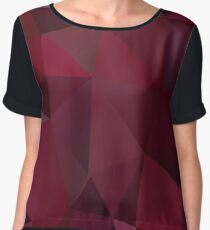 Abstract print geometrical pattern of triangles polygon. Fabric design in marsala red colors Women's Chiffon Top