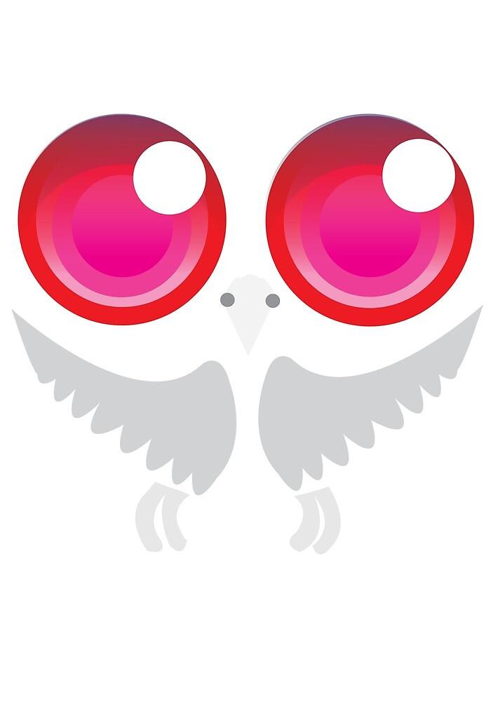 Owl White Pink eye by Animator-Tana11