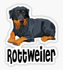 Brown & Black Rottweiler Puppy Dog Cartoon Illustration Sticker