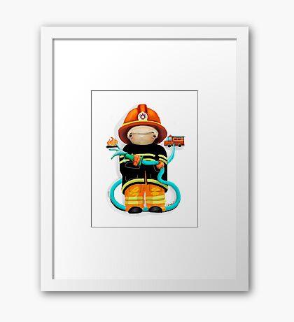 The Little Firefighter Framed Print