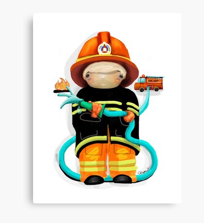 The Little Firefighter Canvas Print