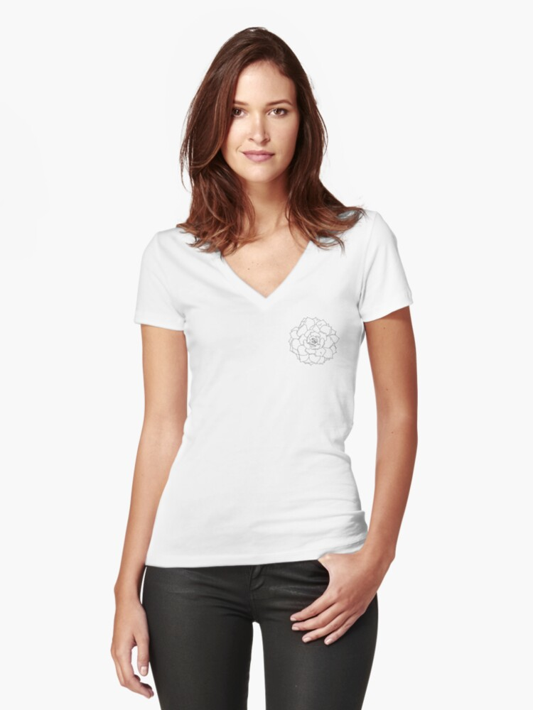 succulent outline black and white plant Women's Fitted V-Neck T-Shirt Front