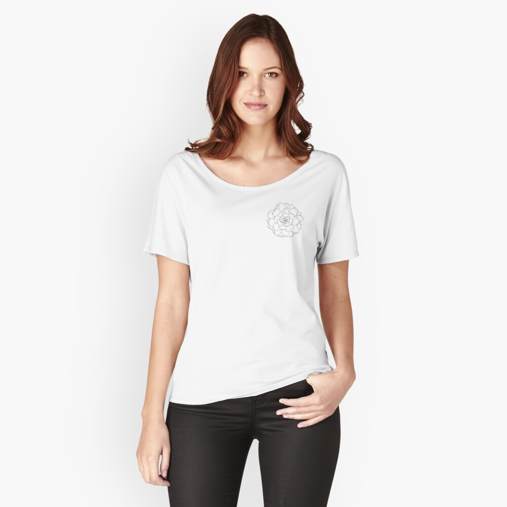 succulent outline black and white plant Women's Relaxed Fit T-Shirt Front