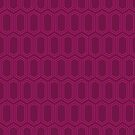 Elongated Hexagon Geometric Pattern (Line Magenta on Deep Red) by KristyKate