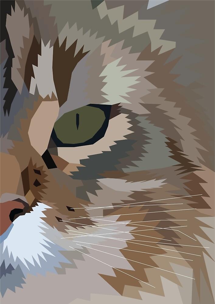 Geometric Fierce Cat Digitally Created by darkestraven