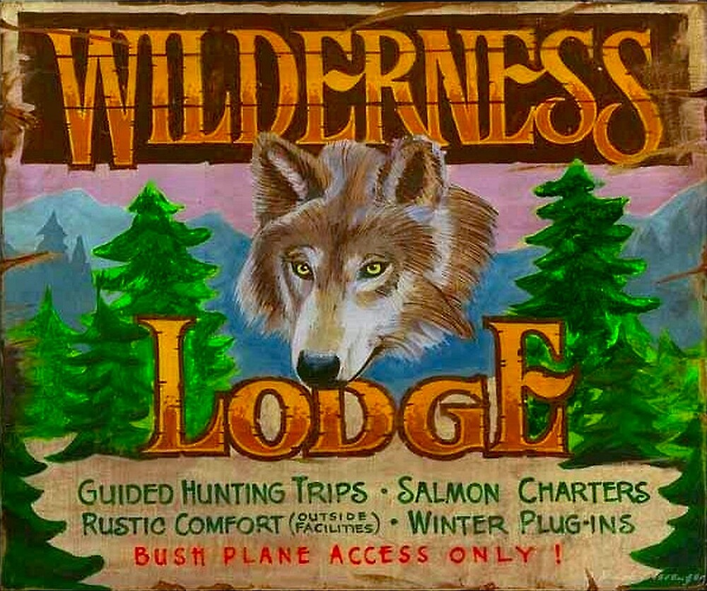 WILDERNESS LODGE : Vintage Hunting and Fishing Sign Print by posterbobs