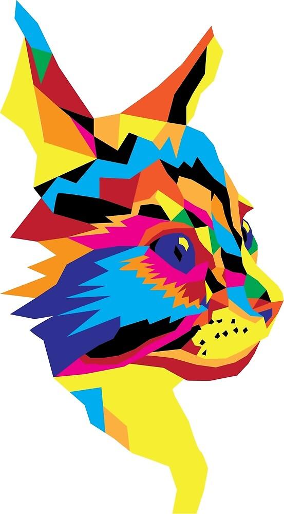 Geometric Colourful Kitten Digitally Created by darkestraven
