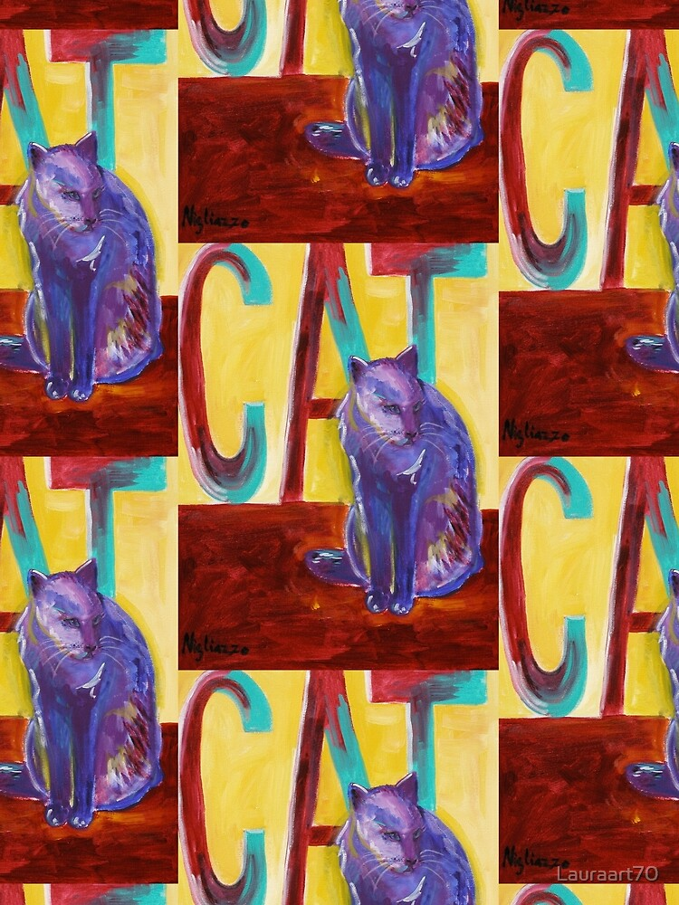 Purple Cat on Red Wall by Lauraart70
