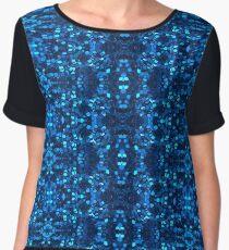 Macro Blue Glitter Pattern Chiffon Top