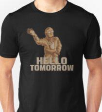 Hello Tomorrow - Sarcastic Futuristic Gas Mask Apocalypse Man Waiving T-Shirt