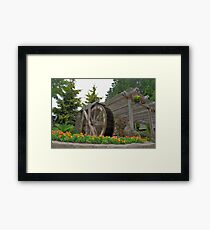 Buchart Garden Water Wheel Framed Print