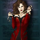 Gothic Girl With Red Ribbon by CatAstrophe