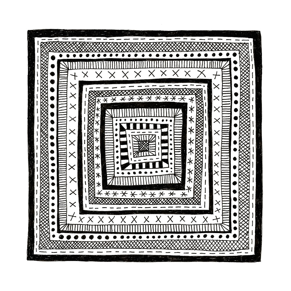 black and white patterned square by Stacey Oldham