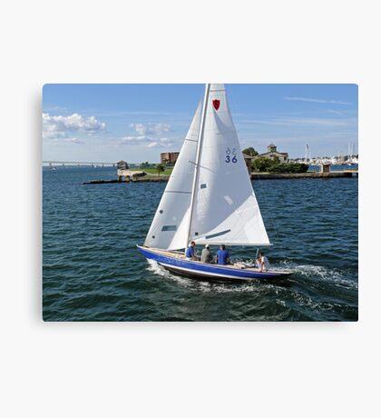 Blue sailboat leaving the Newport Harbor | Bay series 2008 Canvas Print