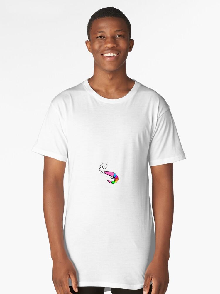 kkb rainbow shrimp flamingo  Long T-Shirt Front
