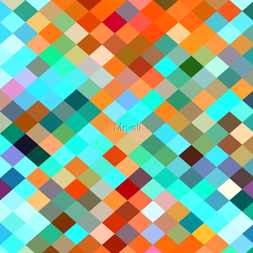 geometric square pixel pattern abstract in blue orange yellow brown green by Mrvell
