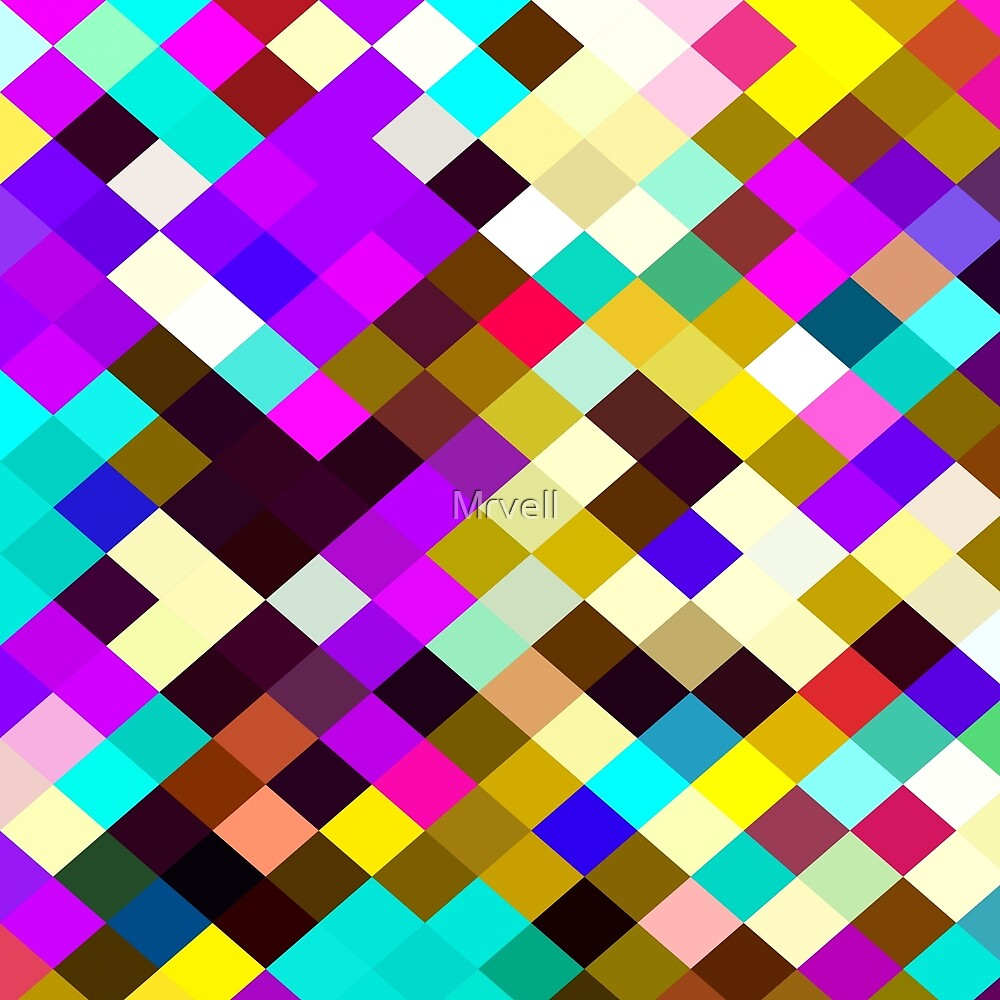 geometric square pixel pattern abstract in purple pink yellow blue brown by Mrvell