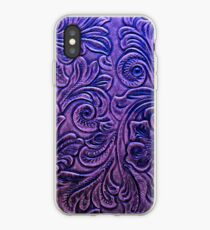 Amethyst Embossed Tooled Leather Floral Scrollwork Design iPhone Case