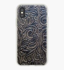 Brown Embossed Tooled Leather Floral Scrollwork Design iPhone Case