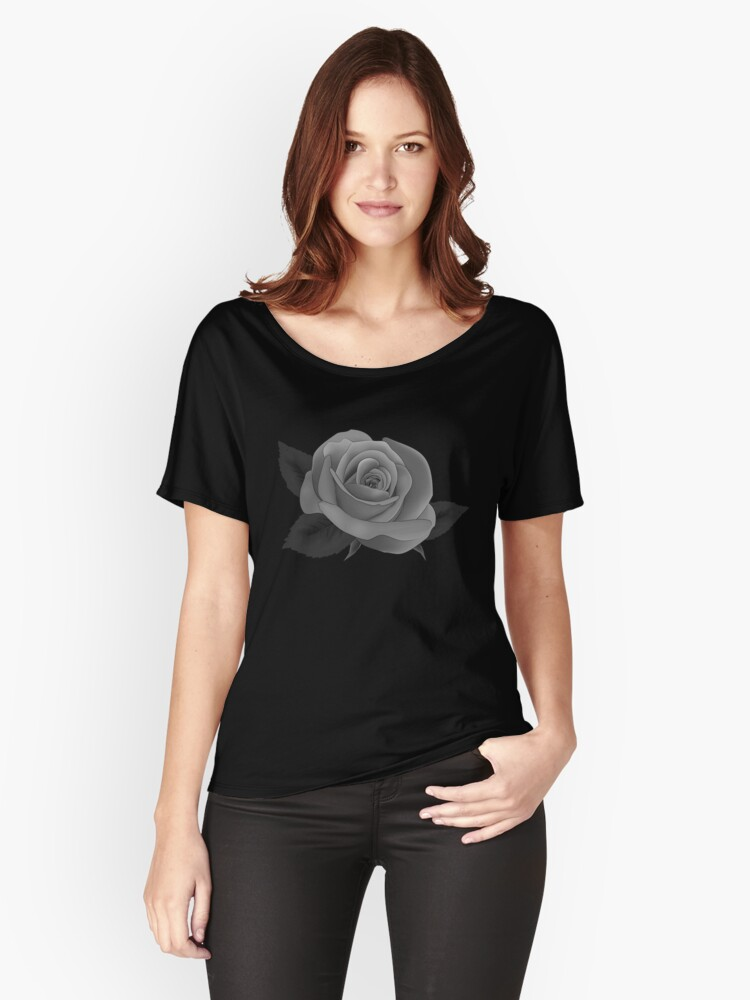 GOTHIC SINGLE GREY ROSE ON MIDNIGHT BLACK BACKGROUND PERFECT FOR CASTLES AND VAMPIRIC ABODES  Women's Relaxed Fit T-Shirt Front