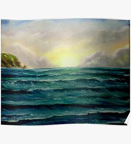 """Sunrise over the Cliffs"" - oil painting Poster"