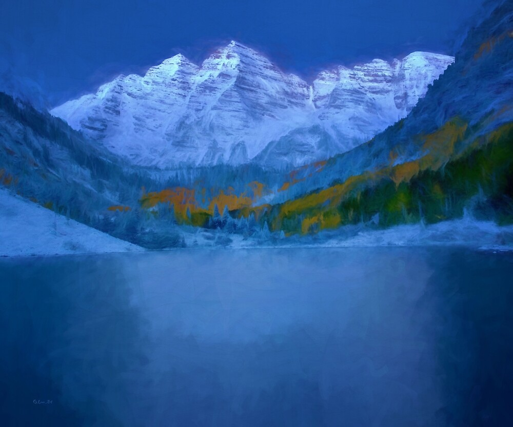 Maroon Bells Early Morning Abstract  by LENA OWENS @OLena Art