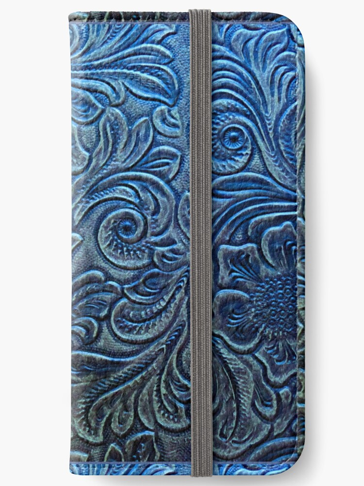 Brilliant Blue Tooled Leather Floral Scrollwork Design by RandP Walriven