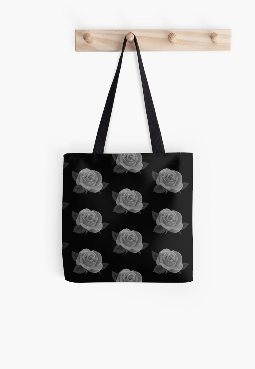 GOTHIC SINGLE AND MULTIPLE GREY ROSES ON MIDNIGHT BLACK BACKGROUND PERFECT FOR CASTLES AND VAMPIRIC ABODES  by ozcushionstoo