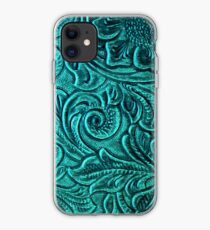 Turquoise Embossed Tooled Leather Floral Scrollwork Design iPhone Case