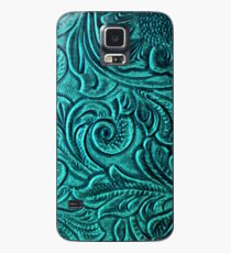 Turquoise Embossed Tooled Leather Floral Scrollwork Design Case/Skin for Samsung Galaxy