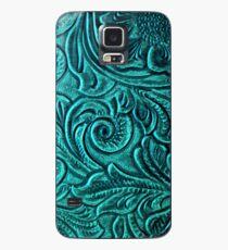 Türkise geprägte Tooled Leder Floral Scrollwork Design Hülle & Klebefolie für Samsung Galaxy