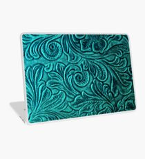 Turquoise Embossed Tooled Leather Floral Scrollwork Design Laptop Skin