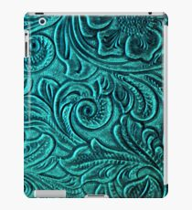 Turquoise Embossed Tooled Leather Floral Scrollwork Design iPad Case/Skin